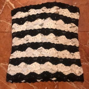 Tube top stretch lace with sequins blk ivory